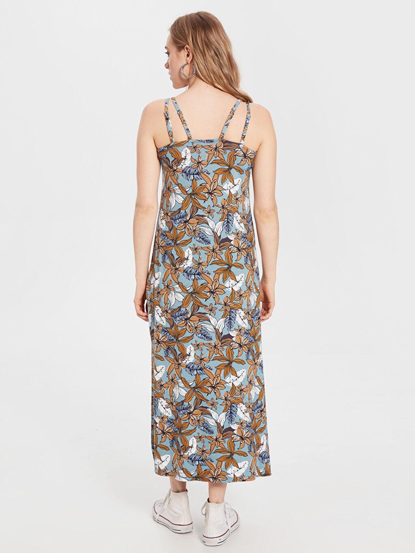 Kadın Askılı Desenli Viskon Elbise