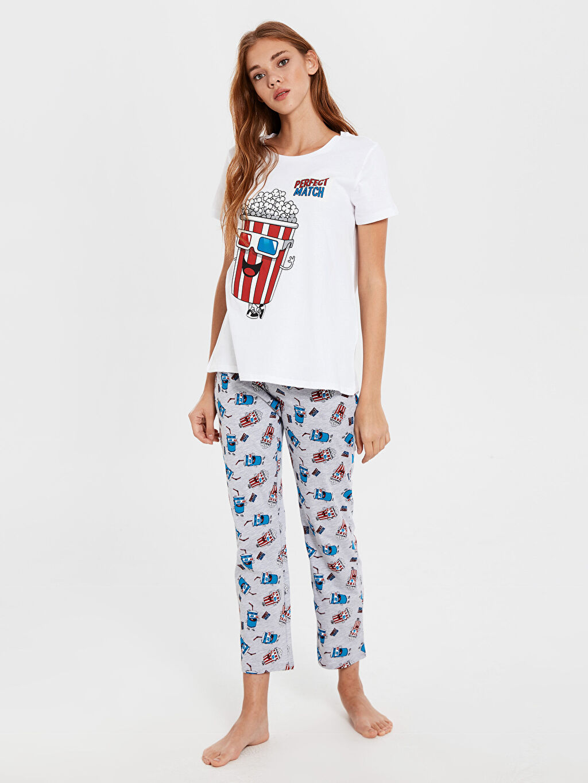 Gri Baskılı Pamuklu Pijama Takımı 0SH188Z8 LC Waikiki