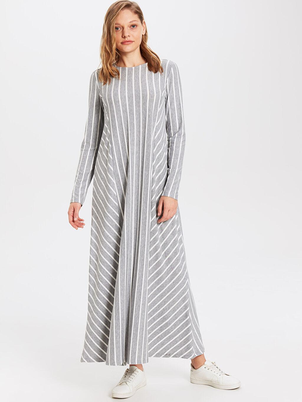 Gri Uzun Çizgili Uzun Kollu Elbise 0SH265Z8 LC Waikiki