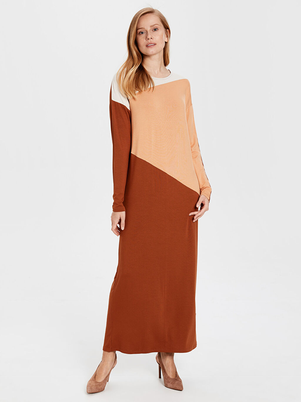 %97 Viskon %3 Elastan Uzun Desenli Uzun Kol Renk Bloklu Uzun Viskon Elbise