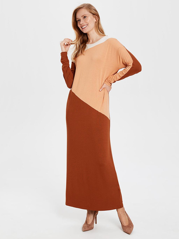 Kadın Renk Bloklu Uzun Viskon Elbise