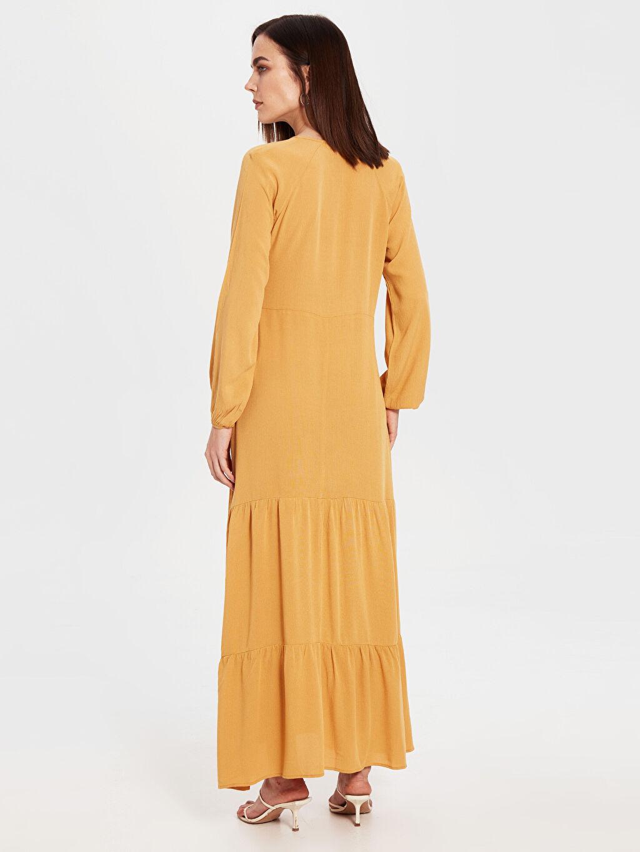 Kadın Yaka Detaylı Uzun Salaş Elbise
