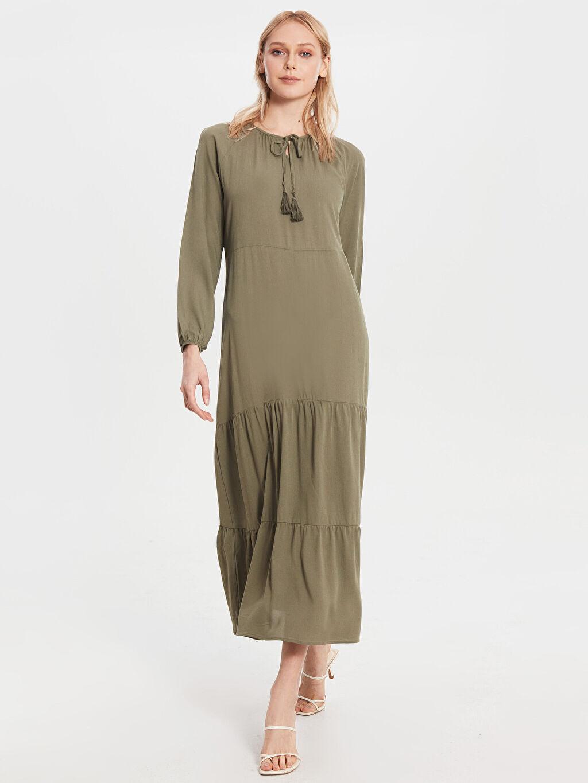 Haki Yaka Detaylı Uzun Salaş Elbise 0SH342Z8 LC Waikiki