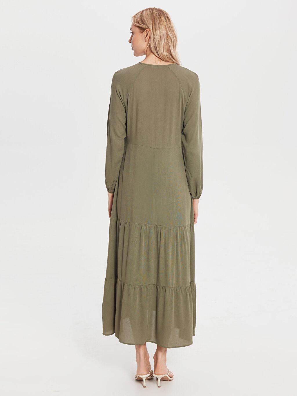 %100 Vıscose Uzun Düz Uzun Kol Yaka Detaylı Uzun Salaş Elbise