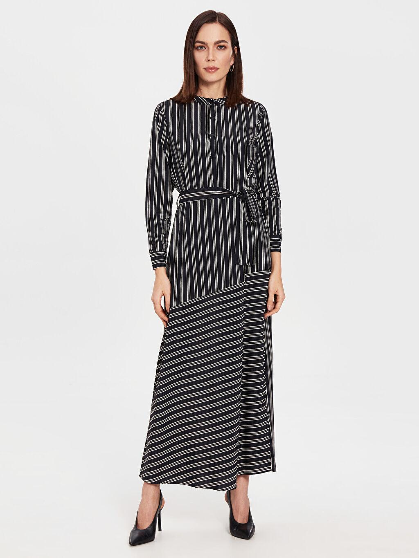 Siyah Çizgili Kuşaklı Elbise 0SH407Z8 LC Waikiki