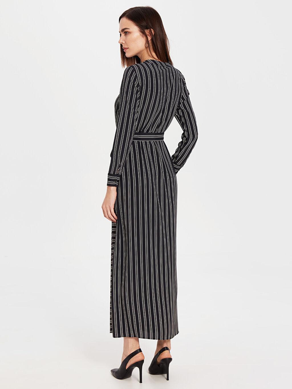 Kadın Çizgili Kuşaklı Elbise