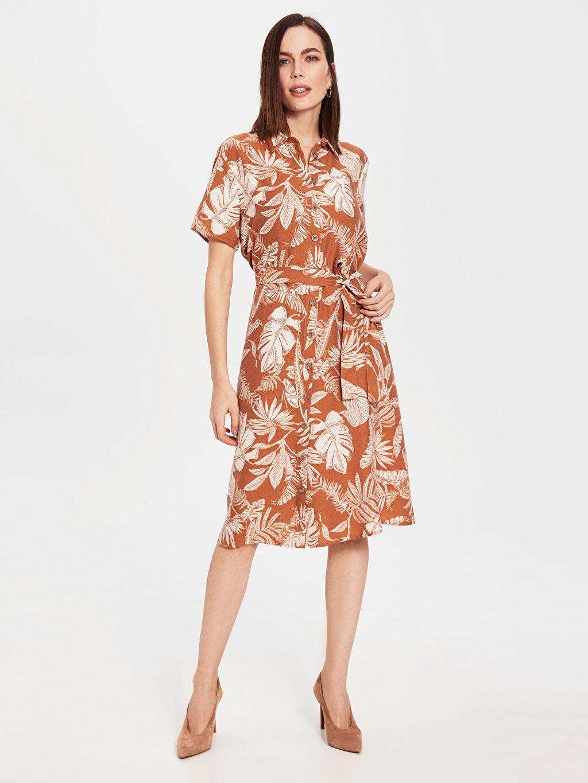 Turuncu Kuşaklı Desenli Viskon Elbise 0SH465Z8 LC Waikiki