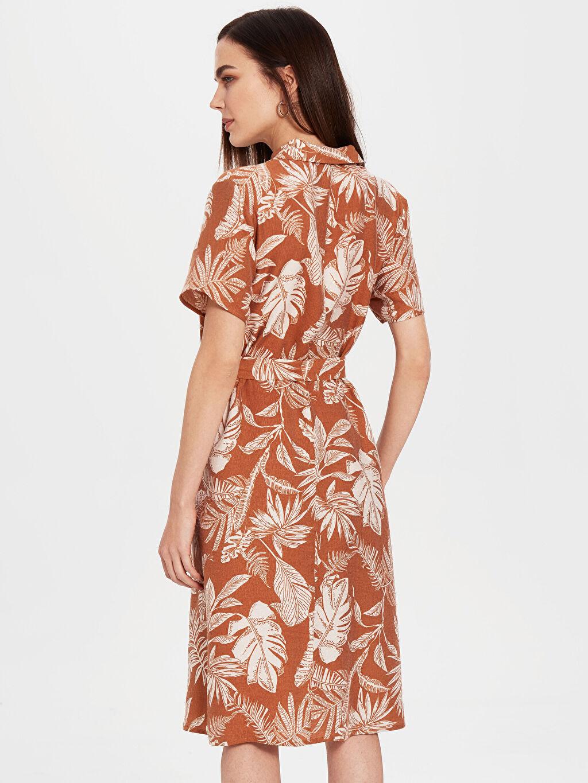 Kadın Kuşaklı Desenli Viskon Elbise