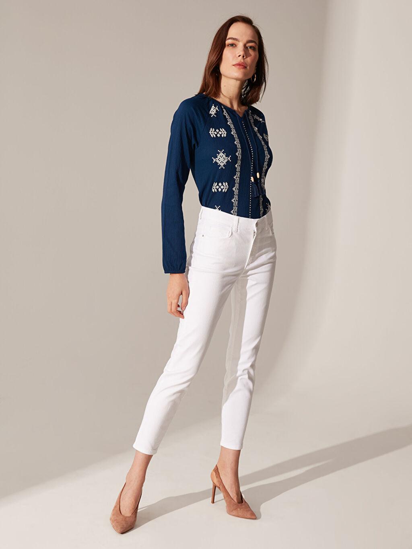 Beyaz Bilek Boy Super Slim Jean Pantolon 0SH523Z8 LC Waikiki