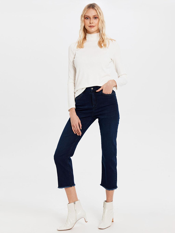 %80 Pamuk %18 Polyester %2 Elastan Yüksek Bel Standart Jean Yüksek Bel Jean