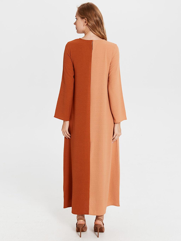 Kadın Renk Bloklu Uzun Elbise