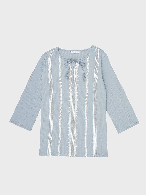 %96 Pamuk %3 Polyester %1 Elastan Nakışlı Kısa Kollu Tişört