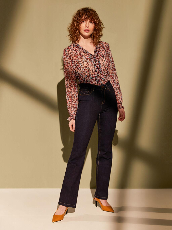 %86 Pamuk %13 Polyester %1 Elastan Yüksek Bel Esnek Standart Jean İspanyol Paça Jean Pantolon