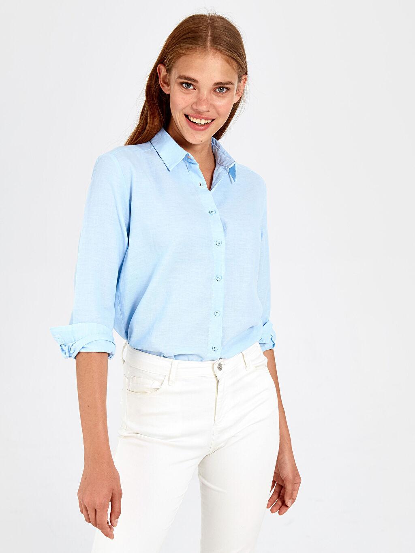 Kadın Pamuklu Poplin Gömlek