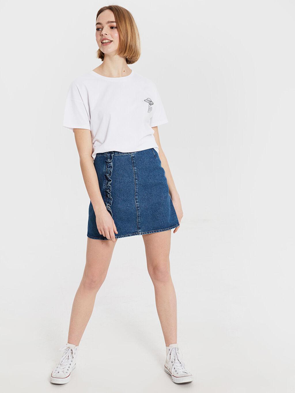 %100 Pamuk Diz Üstü Düz Fırfır Detaylı Mini Jean Etek