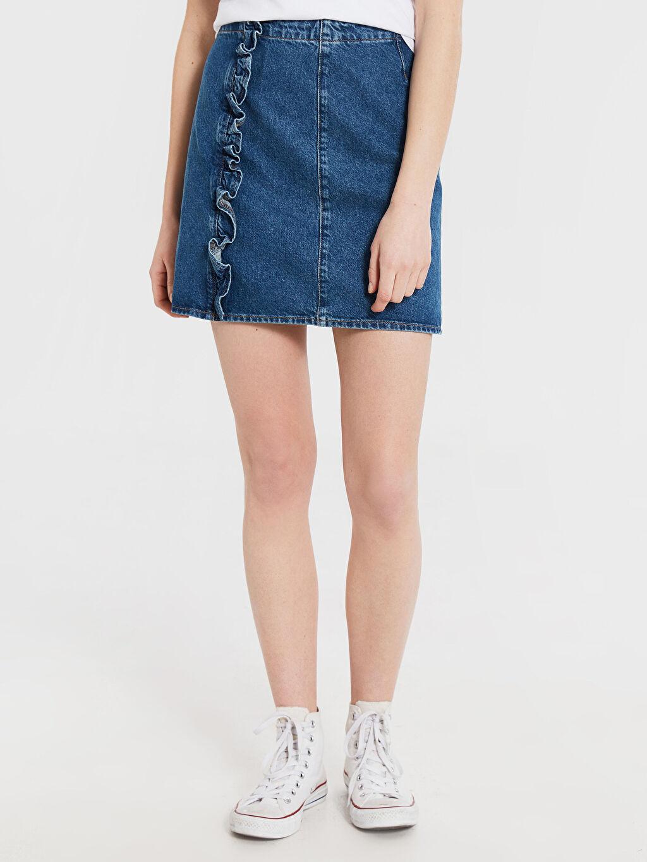Kadın Fırfır Detaylı Mini Jean Etek