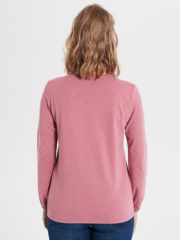 %100 Pamuk Dantel Detaylı Pamuklu Tişört