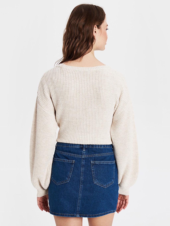 Kadın Kuş Gözü Detaylı Mini Jean Etek