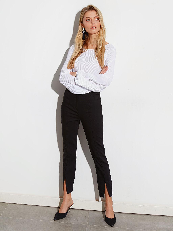 %54 Pamuk %42 Polyester %4 Elastan Normal Bel Esnek Standart Kumaş Pantolon Paçaları Yırtmaçlı Bilek Boy Slim Kumaş Pantolon