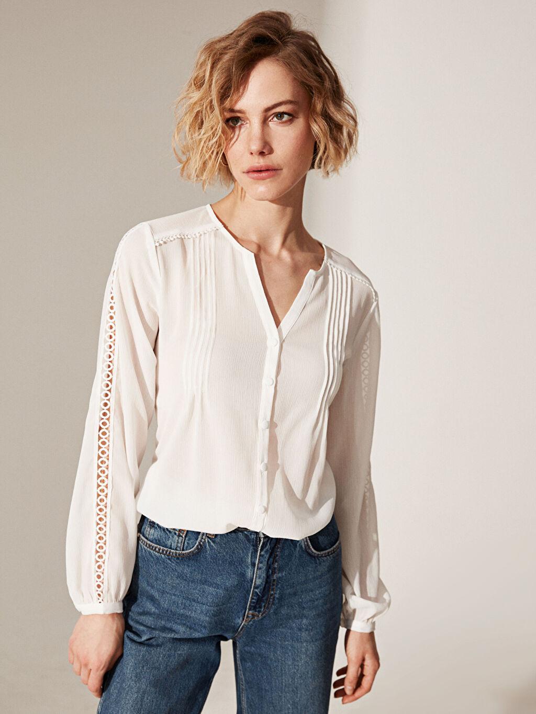 %100 Polyester  Kolları Fisto Detaylı Viskon Gömlek