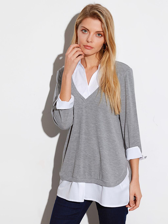 %60 Polyester %36 Viskoz %4 Elastan Standart Düz Var Uzun Kol Diğer Düz Uzun Kollu Tişört