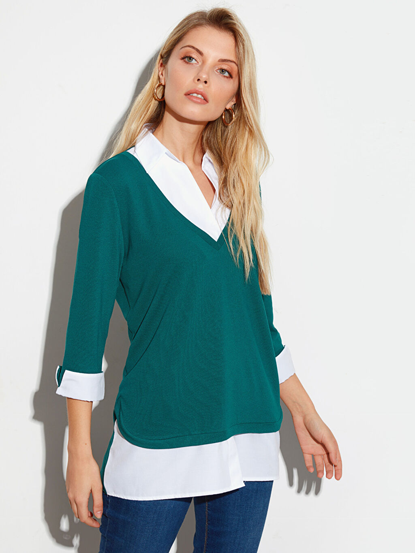 %48 Polyester %49 Viskoz %3 Elastan Standart Düz Var Uzun Kol Diğer Düz Uzun Kollu Tişört
