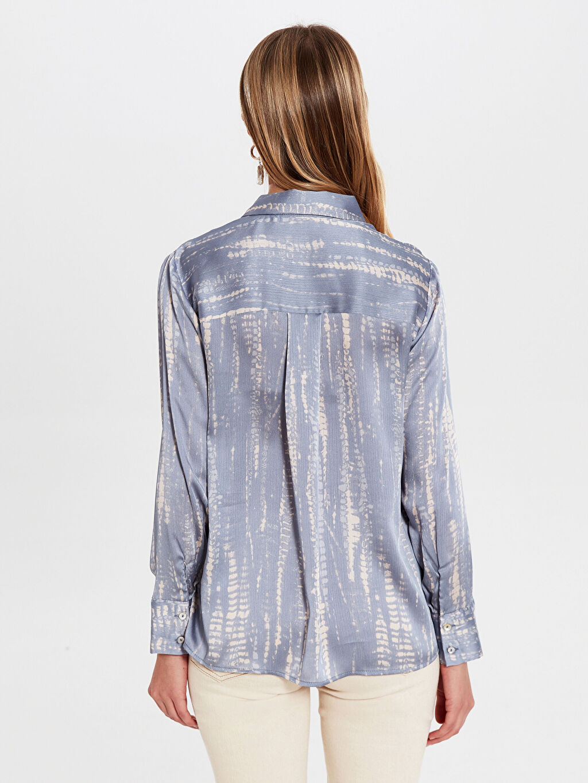%100 Polyester Desenli Dokulu Kumaştan Gömlek