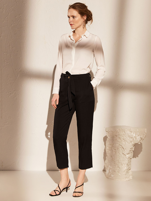 %100 Tencel Standart Yüksek Bel Esnek olmayan Kısa Paça Pantolon Yüksek Bel Kısa Paça Pantolon