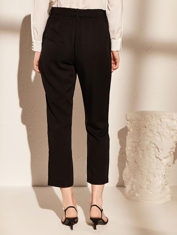 %100 Tencel Yüksek Bel Kısa Paça Pantolon
