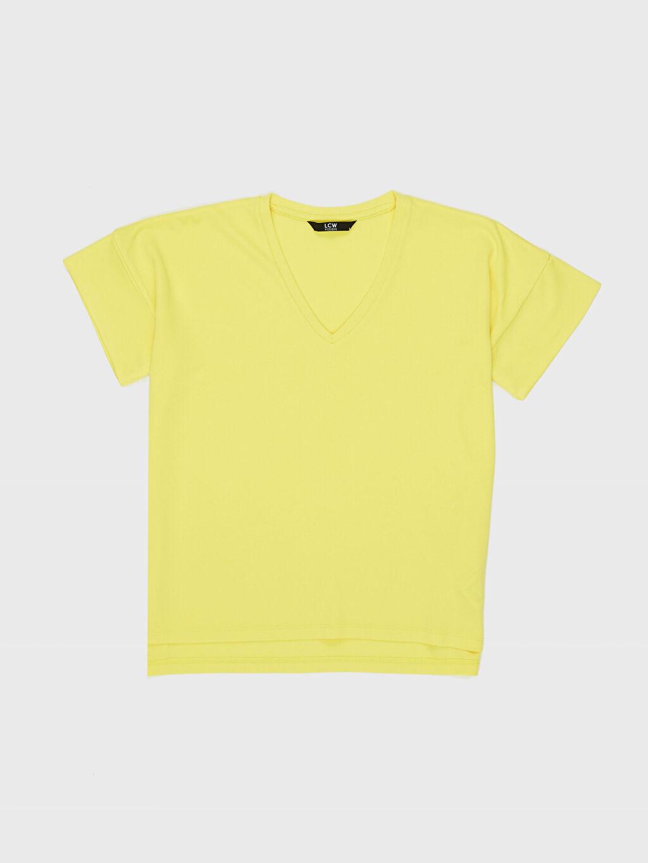 LC Waikiki Sarı Düz Kısa Kollu V yaka Tişört