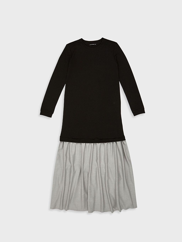 %26 Polyester %72 Viskoz %2 Elastan Uzun Düz Uzun Kollu Elbise