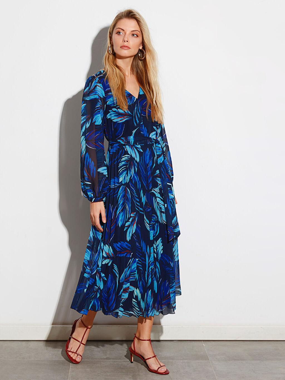 %100 Polyester %100 Polyester Uzun Desenli Uzun Kol Desenli Uzun Kollu Elbise