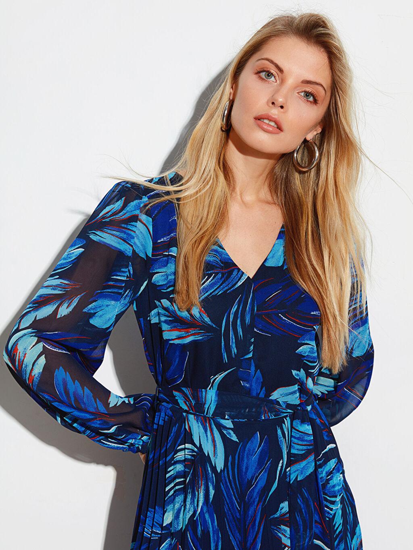 Kadın Desenli Uzun Kollu Elbise