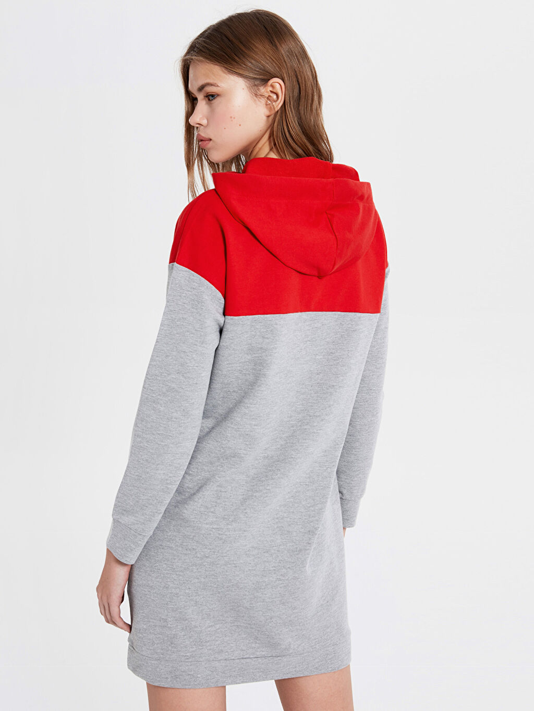 %50 Pamuk %50 Polyester Mickey Mouse Baskılı Kapüşonlu Elbise
