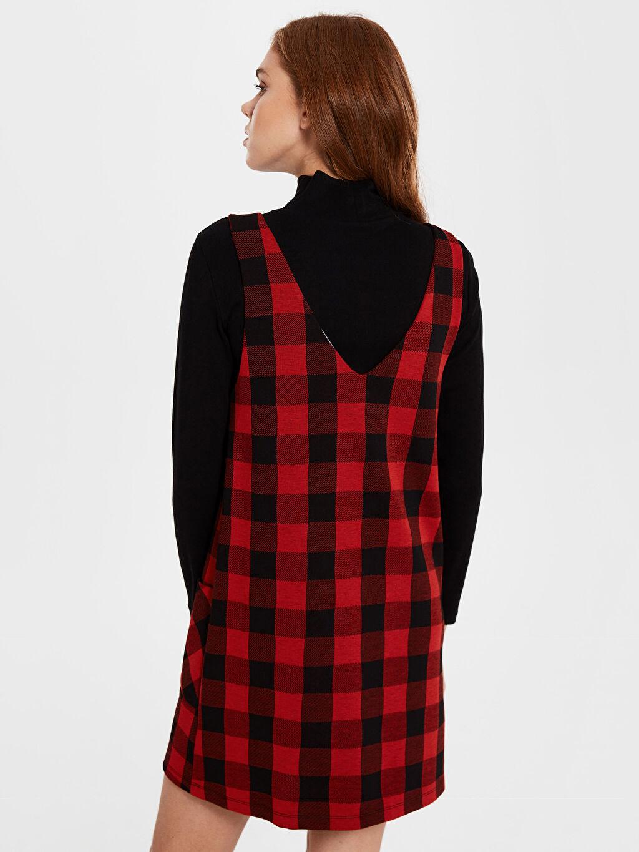 %68 Polyester %2 Elastan %30 Viskon Ekose Salopet Elbise