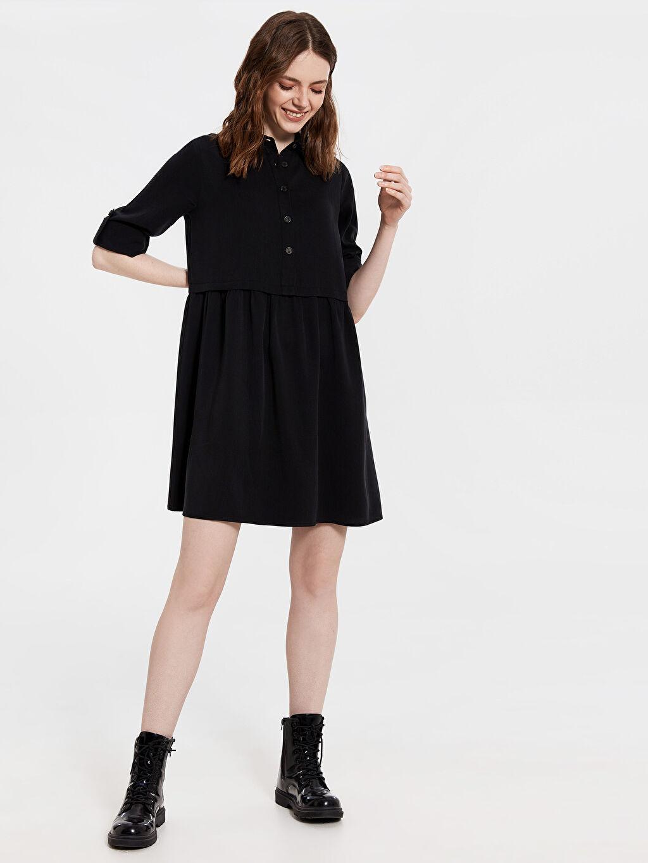 Siyah Düğme Detaylı Elbise 0SK238Z8 LC Waikiki