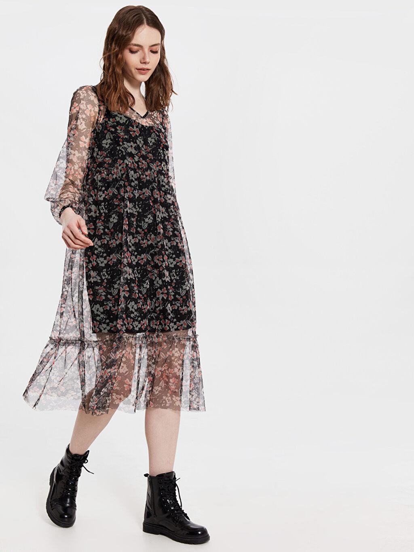 Siyah Çiçek Desenli Şifon Elbise 0SK544Z8 LC Waikiki