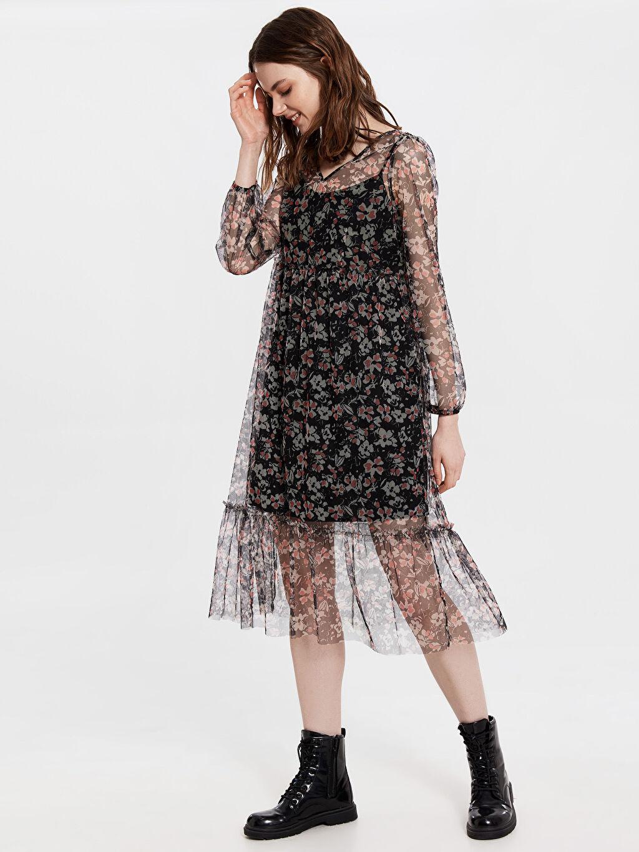%100 Polyester %100 Polyester Diz Altı Desenli Uzun Kol Çiçek Desenli Şifon Elbise