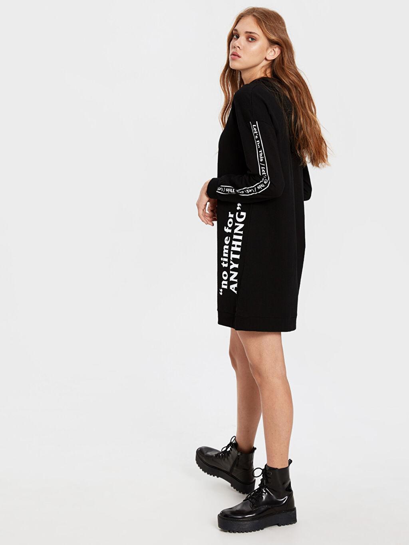 Siyah Slogan Baskılı Pamuklu Kapüşonlu Sweatshirt 0SK552Z8 LC Waikiki