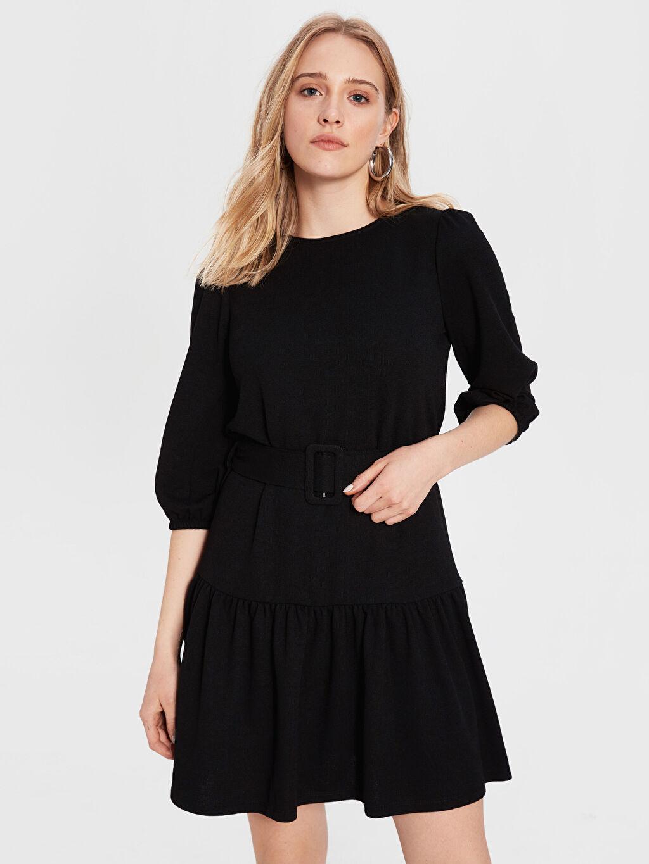 Siyah Kemerli Mini Elbise 0SK571Z8 LC Waikiki