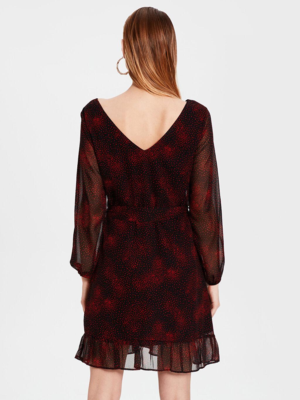 %100 Polyester Diz Üstü Desenli Uzun Kollu Elbise