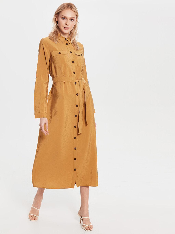 Kahverengi Diz Altı Düz Uzun Kollu Elbise 0SK689Z8 LC Waikiki