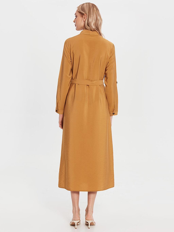 Kadın Diz Altı Düz Uzun Kollu Elbise