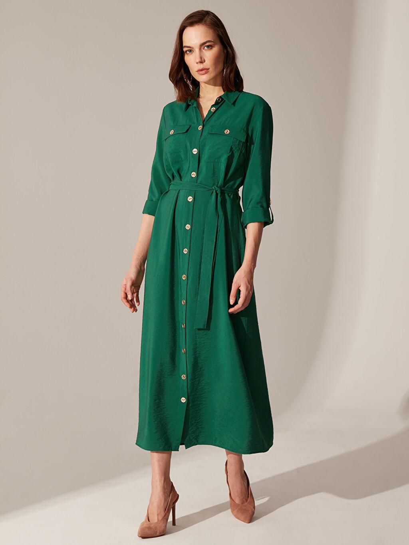 Yeşil Diz Altı Düz Uzun Kollu Elbise 0SK689Z8 LC Waikiki