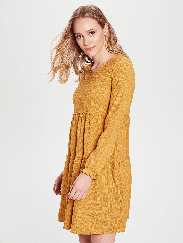 %98 Polyester %2 Elastan Diz Üstü Düz Uzun Kol Fır Fır Detaylı Düz Elbise