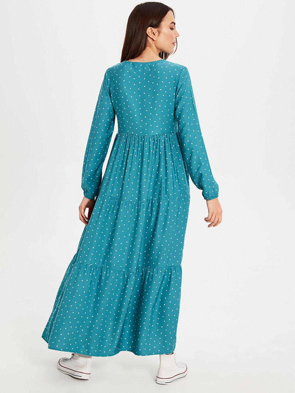 Kadın Hamile Puantiye Deseni Viskon Elbise