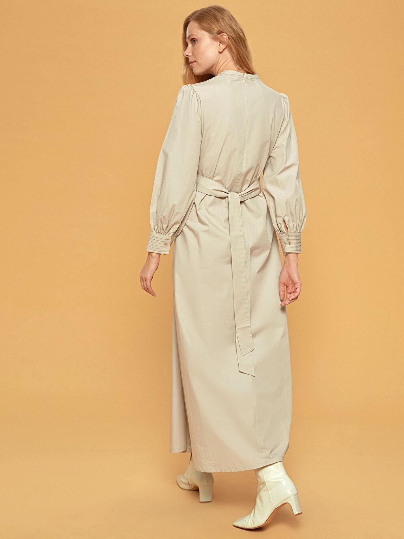 %100 Pamuk Uzun Düz Uzun Kollu Elbise