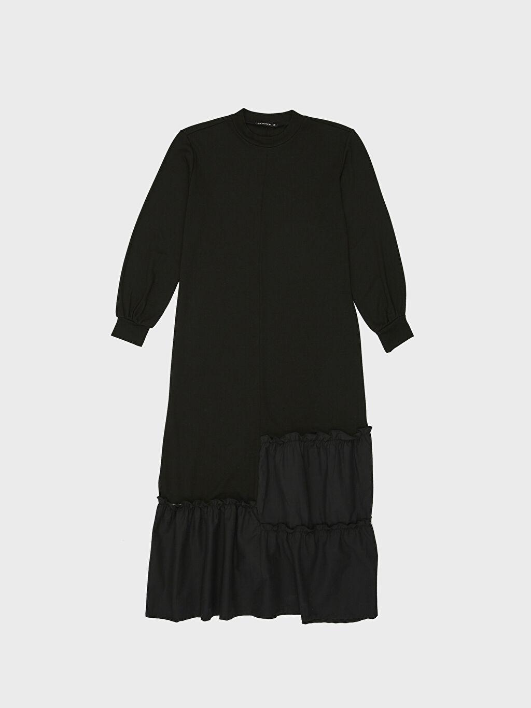 %25 Poliester %73 Viskoz %2 Elastan Fırfır Detaylı Uzun Viskon Elbise