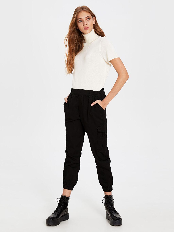 Siyah Normal Bel Lastikli Bel Pantolon 0SL487Z8 LC Waikiki
