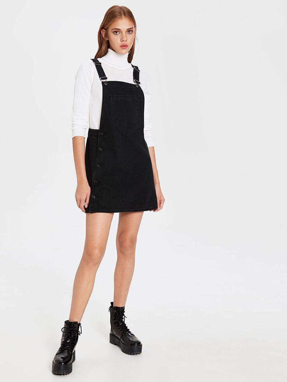 %100 Pamuk Diz Üstü Düz Kolsuz Jean Mini Salopet Elbise